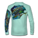 "Seagrass Green This shirt is truly awesome, featuring Jason Mathias's ""Offshore Slam"" which portrays a Sailfish, mahi, tunas, and a blue marlin corralling a giant bait ball! This fine art design is sublimated onto our superior technology that definitely makes for a top favorite among all anglers and outdoor enthusiast world wide!"