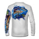 "White back view This shirt is truly awesome, featuring Jason Mathias's ""Sailfish Mahi"" fine art design that is sublimated onto our superior technology that definitely makes for a top favorite among all anglers and outdoor enthusiast world wide!"
