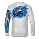 """White back view This shirt is truly awesome, featuring Jason Mathias's """"Mako Shark"""" portraying a mako shark ripping through a school of tuna this fine art design that is sublimated onto our superior technology that definitely makes for a top favorite among all anglers, divers, and outdoor enthusiast world wide!"""