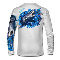 "White back view This shirt is truly awesome, featuring Jason Mathias's ""Mako Shark"" portraying a mako shark ripping through a school of tuna this fine art design that is sublimated onto our superior technology that definitely makes for a top favorite among all anglers, divers, and outdoor enthusiast world wide!"