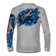 """Grey This shirt is truly awesome, featuring Jason Mathias's """"Mako Shark"""" portraying a mako shark ripping through a school of tuna this fine art design that is sublimated onto our superior technology that definitely makes for a top favorite among all anglers, divers, and outdoor enthusiast world wide!"""