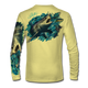 """Pale yellow This shirt is truly awesome, featuring Jason Mathias's """"Mako Shark"""" portraying a mako shark ripping through a school of tuna this fine art design that is sublimated onto our superior technology that definitely makes for a top favorite among all anglers, divers, and outdoor enthusiast world wide!"""