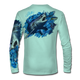 """Seagrass green This shirt is truly awesome, featuring Jason Mathias's """"Mako Shark"""" portraying a mako shark ripping through a school of tuna this fine art design that is sublimated onto our superior technology that definitely makes for a top favorite among all anglers, divers, and outdoor enthusiast world wide!"""