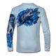 """Arctic blue This shirt is truly awesome, featuring Jason Mathias's """"Mako Shark"""" portraying a mako shark ripping through a school of tuna this fine art design that is sublimated onto our superior technology that definitely makes for a top favorite among all anglers, divers, and outdoor enthusiast world wide!"""