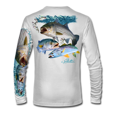 "White back view This shirt is truly awesome, featuring Jason Mathias's ""Northeast Inshore Slam"" displays a striped bass, bluefish, and weakfish that are highly sought after by Northeast inshore anglers and is sublimated onto our superior technology that definitely makes for a top favorite among all anglers and outdoor enthusiast world wide!"