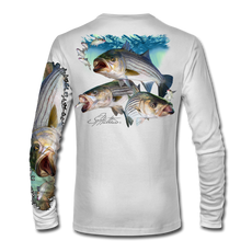 "White back view This shirt is truly awesome, featuring Jason Mathias's ""Striped Bass"" fine art design is sublimated onto our superior technology that definitely makes for a top favorite among all anglers and outdoor enthusiast world wide!"
