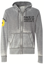 Soft  Zip-Up Hoodie with Believe Big sunflower on the sleeve and our tag-line Face It, Fight It, Overcome It on the front.