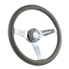 """15"""" CLASSIC FULL LEATHER WRAP STEERING WHEEL - GRAY"""