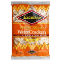 Excelsior Water Crackers Cinnamon 336g packaged in clear plastic with Orange labeling