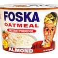 FOSKA ALMOND OATMEAL INSTANT PORRIDGE 74 GRAMS   Almond Oatmeal Instant Porridge packaged in a red and  white container