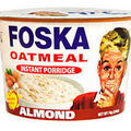FOSKA ALMOND OATMEAL INSTANT PORRIDGE 74 GRAMS   Almond Oatmeal Instant Porridge packaged in a red and  white container