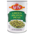 La Fe Green Pigeon Peas 15 oz in a can with White and Green labeling