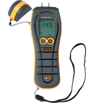 The industry's best-selling dual-function moisture meter.  The Surveymaster is a versatile pin and non-invasive meter designed for comfortable, one-handed operation, allowing you to assess moisture levels and plot moisture migration in a wide variety of materials quickly and accurately. Plus, the Surveymaster's patented new Reference mode can be used to compare readings to standards you set based on the situation. Item #F522 $605 Suggested List U.S. Funds 	    FeaturesSpecsDocumentation  Product Features      Large easy-to-read backlit display     Rugged, restoration-ready construction     Pin moisture measurement     Non-invasive systems measures moisture up to ¾ in. (20mm) below the surface     Instant readings in a wide range of building materials   Product Specifications   Weight	 	8 oz. | 225 gm Dimensions (L × W × H)	 	7.5 × 2.75 × 1.9 in. 190 × 70 × 49 mm Power	 	One 9V battery (included) Display	 	Backlit LCD Maximum pin penetration	 	0.4 in. | 10 mm Pin moisture measurement range 	 	8–99%WME. Readings over 30% are relative. Pinless (non-invasive RF) measurement range 	 	60–1000 (relative). Measures up to ¾ in. (19 mm) deep.