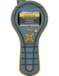 Four-in-One Moisture Measurement System  The all-new MMS2 represents the latest Protimeter technology in an integrated, durable and easy to use design. An intuitive user interface with color screen and a comfortable, non-slip grip make the MMS2 the most useful meter you'll ever own. The MMS2 will help you tackle every restoration challenge. Item #F488 $1,090 Suggested List U.S. Funds 	    FeaturesSpecsAccessoriesDocumentation  Product Features      Intuitive user interface with color screen     Rugged, lightweight and ergonomic case. Carry pouch included!     Log up to 8000 results, each with date and time stamp from all instrument functions.     Complete psychrometric calculations     Surface non-contact temperature measurement with laser pointer     Legend Rewards: 500 Points PROFESSIONAL FEATURES  Pin moisture measurement. Built-in pins to quickly assess surface moisture content of a wide variety of materials, including wood, drywall, concrete, stucco, plaster and more.  Non-invasive moisture detection. Quickly locate hidden moisture and detect moisture migration. Flat-back profile ensures positive engagement with surfaces and less variability in readings.  Infra-red surface temperature reading with laser pointer. Check surface temperatures and calculate proximity of dewpoint.  Fast thermo-hygrometer. Includes full psychrometric calculation tools.  SPECIAL FEATURES Reference Reading. Measure and save readings from unaffected materials for comparison with affected areas.  Data Storage Functions. When multiple environmental readings need to be collected, the MMS2 makes it easy. Record readings instantly at the push of a button. Stores up to 8000 readings! Use the provided software to upload data to your PC to produce professional reports and documentation.   Concrete Floor Moisture Measurement. Quickly measure equilibrium relative humidity directly in concrete slabs. Simply drill a hole in the concrete, insert a humidity sleeve, and measure!