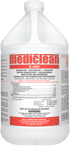 Mediclean X-590 Institutional Spray Water-based bactericide, fungicide, deodorant and insecticide with tracer Just one application of the new Mediclean X-590 kills nuisance insects, mold, mildew and bacteria odors. It's registered for use on soft surfaces, including mattresses, so it's perfect for combating bed bugs. X-590 is also suitable for many decontamination applications including sewage backups, removal of carcasses and more.  As an insecticide, Mediclean X-590 kills roaches, lice, fleas, ants, beetles, bed bugs and their larvae. And as a bactericide, Mediclean X-590 kills gram negative bacteria typically encountered in sewage backups and toilet overflow situations, and is EPA-registered for spray application. Mediclean X-590 Institutional Spray includes a tracer, which is especially important when proving compliance with local regulations for mattress treatment.