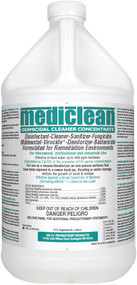 Mediclean Germicidal Cleaner Concentrate (QGC) A quat based hospital grade disinfectant in an economical concentrated form. This economical heavy duty cleaner is a disinfectant, fungicide, virucide, sanitizer, mildewstat and deodorizer all in one. Mediclean Germicidal Cleaner Concentrate is effective against a broad spectrum of bacteria (including MRSA), inhibits the growth of mold and mildew, and deactivates viruses such as Influenza Type A (including H1N1 Swine Flu), Avian Influenza, HIV-1 and many others.  Germicidal Cleaner Concentrate also kills common household germs including Pseudomonas aeruginosa (Pseudomonas), Staphylococcus aureus and Streptococcus faecalis, Influenza A / Brazil, 2009 H1N1 flu virus, and Trichophyton mentagrophytes (the athlete's foot fungus), HIV-1, Hepatitis B and Hepatitis C.
