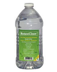 "BotaniClean antimicrobial/cleaner from ProRestore    An nature-inspired alternative from the name you trust – ProRestore!      No PPE required     Clean, disinfect and deodorize hard surfaces in one easy step     Also cleans and deodorizes carpet, upholstery and fabrics     EPA Category IV rating, which means no ""warning"" or ""danger"" labels required     No extraneous oils for a consistent, effective product every time     No additional rinsing or wiping required*     Approved for use on food contact surfaces*     Mild, pleasant fragrance without harsh fumes     Ready-to-use convenience and economical!   All in one unique formulation!  BotaniClean is a:      Germicide     Tuberculocide     Fungicide     Virucide     Broad-spectrum hospital-grade disinfectant   	  BotaniClean kill-claims include:       Tuberculosis     MRSA     H1N1     HIV     Gram positive and gram negative microorganisms And much more!   Specifications     BotaniClean  Formulation 	    	  Ready-to-use  Sold in cases only 	    	  4 one gallon (3.8L) bottles  Case reorder no. 	    	  224002000  Appearance 	    	  Opaque clear liquid  pH 	    	  3.5 +0.5  Specific gravity 	    	  1.03–1.00 (H20 = 1)  EPA registration no. 	    	  34810-25-70385  Use Instructions     General cleaning and disinfecting directions: Gross filth and heavy soil must be removed before applying cleaning solution. Apply to surfaces by cloth, sponge, brush, coarse spray or by immmersing equipment using cleaning methods. All hard surfaces must be wet thoroughly, and remain wet for at least 10 minutes and allowed to air dry. Thoroughly rinse all wetted and cleaned food contact surfaces with potable water.  As the solution becomes dirty, discard and replace with fresh solution.  For complete use instructions and specific information about cleaning and decontaminating surfaces/objects please consult the label.  It is a violation of Federal Law to use the product in a manner inconsistent with its labeling."