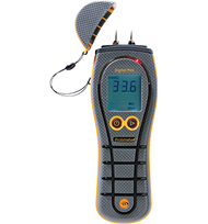 Operating Range:  0°C –50°C | 32°F –122°F Humidity Range:  (non-condensing) 0–90% RH Pin measurement Range:  (% MC in wood/%WME) 7.9%–99% (readings over 30% are relative) Maximum Measurement Depth (for WME pins):  10 mm | 4 in. Dimensions (H × L × D):  19 × 6.5 × 3.5 cm | 7.5 × 2.5 × 1.5 in. Weight (without battery):  228 g | 8 oz. Power:  9V alkaline = 550mAh. Low battery indicator on LCD Regulatory compliance:  CE, RoHS, ETL Legend Rewards:   100