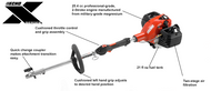 Engine Displacement (cc)25.4 Carburetor (w/Purge Pump)Rotary Fuel Capacity (fl. oz.)20.6 Starting SystemStandard Dry Weight (lbs)19.9 Length (in)40.7 Available AttachmentsStraight Shaft Edger Curved Shaft Edger Rapid-Loader Trimmer Pro-Torque Trimmer Speed-Feed Trimmer Brushcutter Articulating Hedge Trimmer Hedge Trimmer Power Pruner Blower ProSweep ProPaddle Cultivator Bed Redefiner 3' Extension Consumer Warranty5 years Commercial Warranty2 years 1 Power Source only
