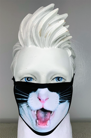 Black cat with tongue Face Mask