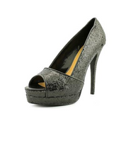 Black Glitter Sandal Pump