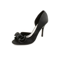 Black Satin Sandal Pump