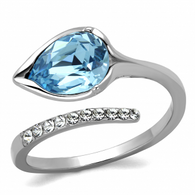 Aquamarine colored leaf ring
