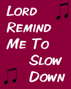 Lord Remind Me to Slow Down