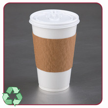 Paper board hot cup wrap that provides superior insulation. Fits 10, 12, 16, and 20 ounce cups.  Eco-friendly.