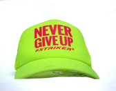 #NEVER GIVE UP  Neon Yellow  Trapper Trucker Hat (UNISEX )