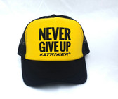 #NEVER GIVE UP Yellow   Trapper Trucker Hat (UNISEX )