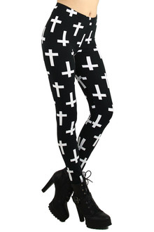 White Cross Leggings