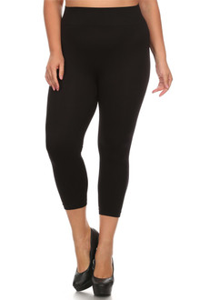 Basic Spandex Capri Leggings - Plus Size