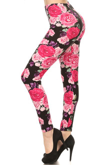 Plus Size Brushed Beautiful Rose Leggings