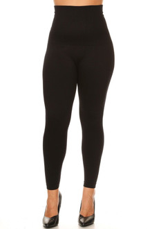 Black High Waist French Terry Compression Leggings - Plus Size