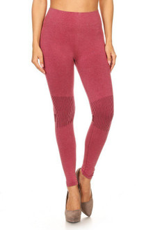 Burgundy Distressed Denim Cotton Cruiser Leggings