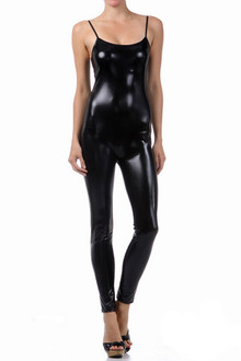 Shiny Liquid Sleeveless Jumpsuit - Front