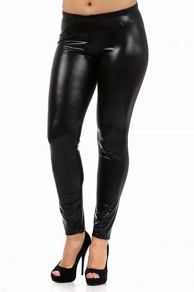 Shiny Faux Leather Leggings Plus Size World Of Leggings