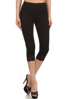 Black USA Cotton Capri Lace Leggings