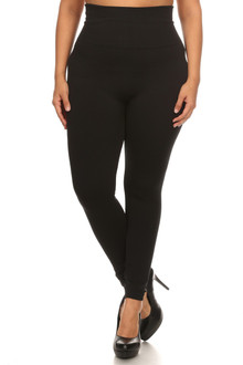 Black High Waist Cotton Plus Size Leggings