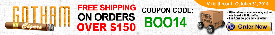 Get free shipping on your orders over $150 and save on your cigars and cigar accessories!