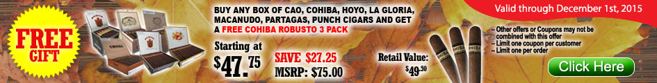 Get a free Cohiba 3 Pack with a purchase of box of selected brands!