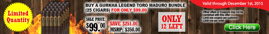 Gurkha Legend Toro Maduro Deal!