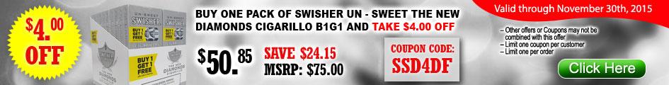 Swisher Un-Sweet The New Diamonds Cigarillos