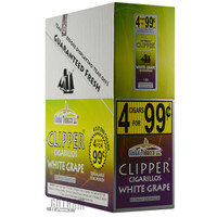 Clipper Cigarillos Foil Pack White Grape 4 for $0.99 upright & foilpack