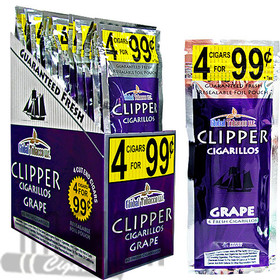 Clipper Cigarillos Foil Pack Grape 4 for $0.99 upright & foilpack