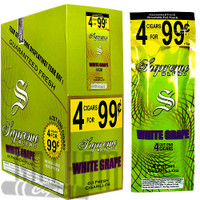 Supreme Cigarillos Foil Pack White Grape 4 for $0.99 upright & foilpack