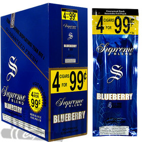 Supreme Cigarillos Foil Pack Blueberry 4 for $0.99 upright & foilpack
