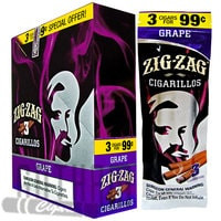 Zig Zag Cigarillos Grape 3 for $0.99 upright & foilpack