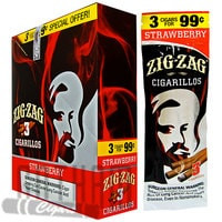Zig Zag Cigarillos Strawberry 3 for $0.99 upright & foilpack